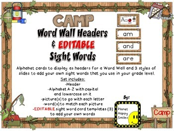 Sight Word Alphabet Headers and EDITABLE Sight Word Cards ~ Camping Theme