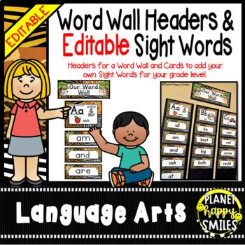 Sight Word Alphabet Headers and EDITABLE Sight Word Cards ~ Jungle/Safari Theme