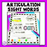 Articulation Sight Words for Speech Language Therapy