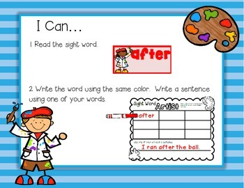Sight Word Artist--Dolch First to Third Words Read & Write Center for K-2