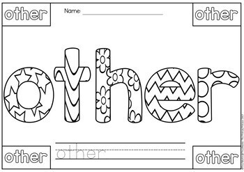 Sight Words Coloring Pages (Fry Words 1-100)