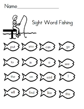 Sight Word Assesment - Fishing