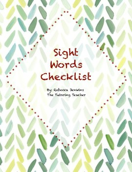 Sight Word Assessment Cards and Checklist