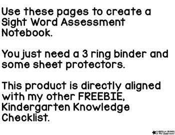 Sight Word Assessment Notebook