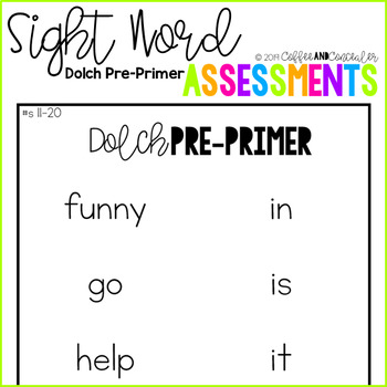 Sight Word Assessment Pack - Dolch Pre-Primer