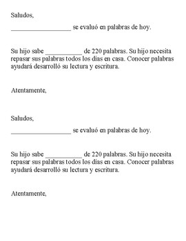 Sight Word Assessment- Parent Notice in Spanish and English