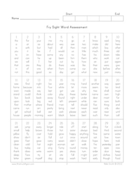 Sight Word Assessment & Practice
