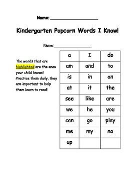 Sight Word Practice and Assessment to give to Parents