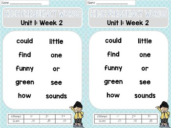 Sight Word Assessments: 2nd Grade Reading Wonders UNIT 1