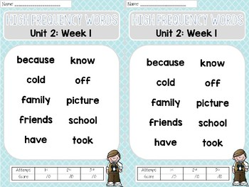 Sight Word Assessments: 2nd Grade Reading Wonders UNIT 2