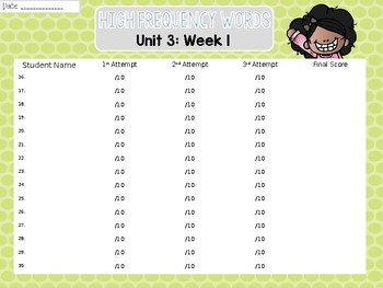 Sight Word Assessments: 2nd Grade Reading Wonders UNIT 3