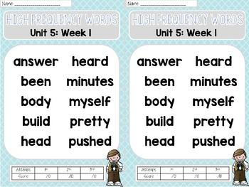 Sight Word Assessments: 2nd Grade Reading Wonders UNIT 5