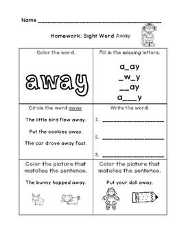 Sight Word: Away
