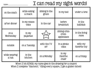 Sight Word BINGO (1st and 6th six weeks)