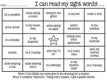 Sight Word BINGO (2nd six weeks - fall)