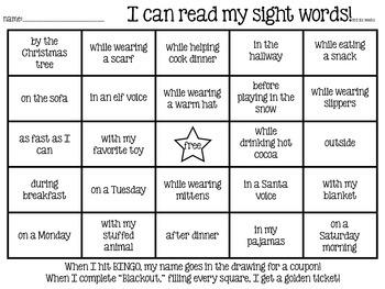 Sight Word BINGO (3rd six weeks - Christmas)
