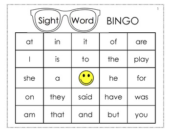 Adorable image within sight word bingo printable