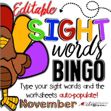Sight Word BINGO - November - Editable!!!