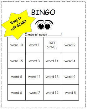 Editable BINGO - Type one list and get 20 different game boards!