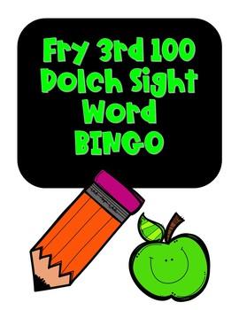 Sight Word BINGO FRY 3rd 100 words NO PREP