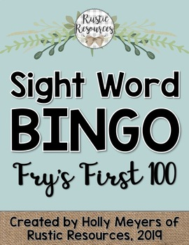 Sight Word BINGO Game (Fry's First 100 Sight Words)
