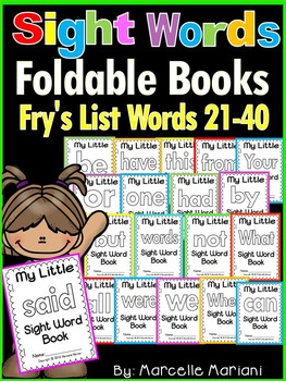 Sight Word BOOKS- Fry's list words 21-40 (Foldable Sight W