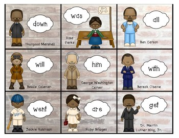 Sight Word BUMP IT-Famous African Americans