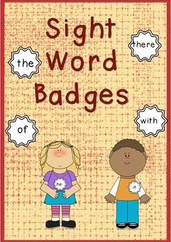 50 Sight Word Badges