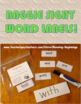 Sight Word Baggie Labels