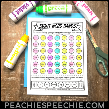 Sight Word Bands: Sight Word Worksheets and Wristbands