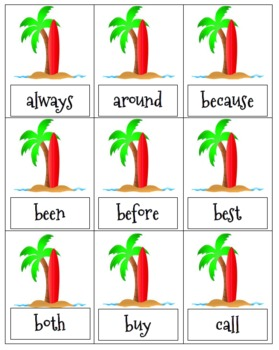 Sight Word Bang Luau Theme