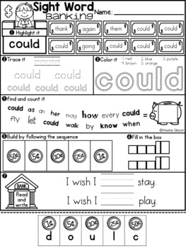 Sight Word Banking First Grade