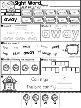 Sight Word Banking Pre-Primer
