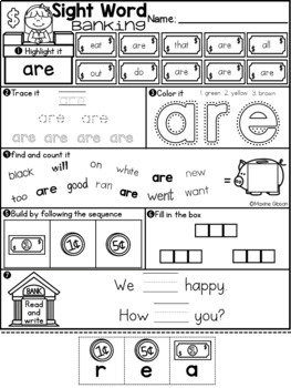 Sight Word Banking Primer