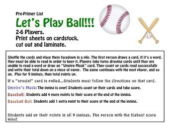 Sight Word Baseball Game- Pre Primer