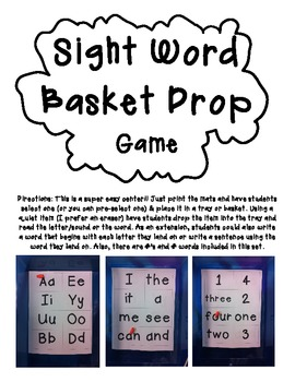 Sight Word Basket Drop Game