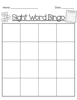 Sight Word Bingo 1