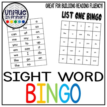 Sight Word Bingo (First 25 Fountas and Pinnell Words)