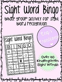 Sight Word Bingo - 25 Bingo Boards - 60+ Kindergarten Sight Words