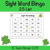 Sight Word Bingo (25 Word List)