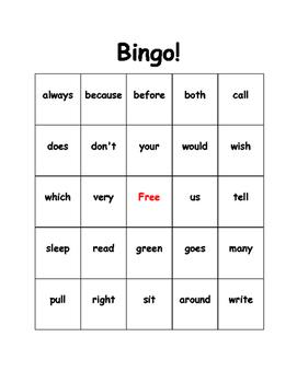 Sight Word Bingo (2nd Grade)