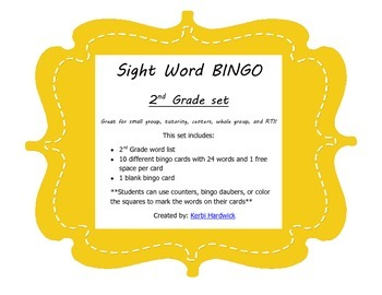 Sight Word Bingo {2nd Grade}