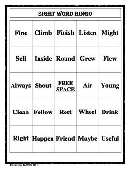 Sight Word Bingo 2nd Grade (30 pre-made cards!!!)