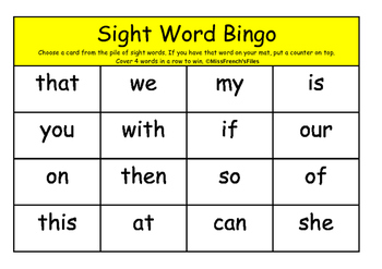 Sight Word Bingo #3