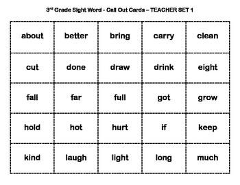 Sight Word Bingo {3rd Grade}