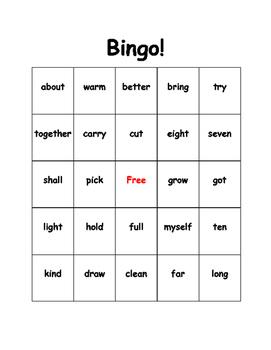 Sight Word Bingo (3rd grade)