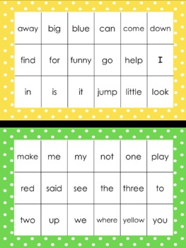 Sight Word Bingo - 40 Dolch Pre-Primer Sight Words - Rainbow Border