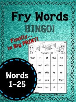 1 Sight Word Bingo BIG PRINT!