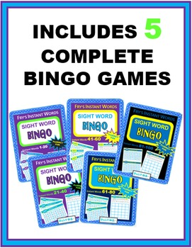Sight Word Bingo BUNDLE - Fry's Instant Words 1-100 (Includes 5 complete games)