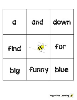 Sight Word Bingo Boards ~ Kindergarten
